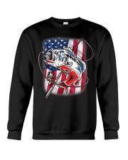 American Flag Fishing Shirt Vintage USA Bass Crewneck Sweatshirt thumbnail