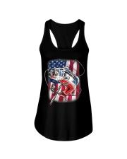American Flag Fishing Shirt Vintage USA Bass Ladies Flowy Tank thumbnail