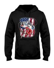 American Flag Fishing Shirt Vintage USA Bass Hooded Sweatshirt thumbnail