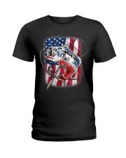 American Flag Fishing Shirt Vintage USA Bass Ladies T-Shirt thumbnail