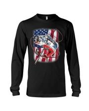American Flag Fishing Shirt Vintage USA Bass Long Sleeve Tee thumbnail