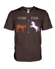 Your Grandma My Grandma Horse Unicorn V-Neck T-Shirt front