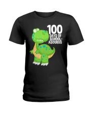 100 Days Of School Asurus Dinosaurs Teachers Ladies T-Shirt thumbnail
