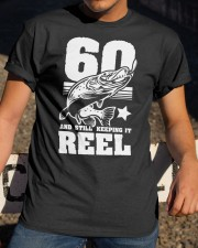 60th Birthday And Still Keeping It Reel Fish Classic T-Shirt apparel-classic-tshirt-lifestyle-28