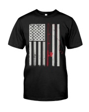American Flag Patriotic Fishing Pole Outdoor Classic T-Shirt front