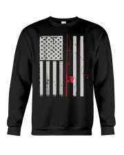 American Flag Patriotic Fishing Pole Outdoor Crewneck Sweatshirt thumbnail