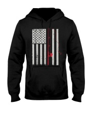 American Flag Patriotic Fishing Pole Outdoor Hooded Sweatshirt thumbnail
