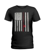 American Flag Patriotic Fishing Pole Outdoor Ladies T-Shirt thumbnail