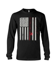 American Flag Patriotic Fishing Pole Outdoor Long Sleeve Tee tile