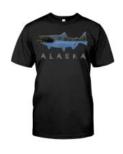Alaskan King Salmon with Fishing Boat Saltwa Classic T-Shirt front