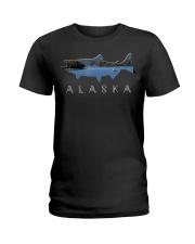 Alaskan King Salmon with Fishing Boat Saltwa Ladies T-Shirt thumbnail