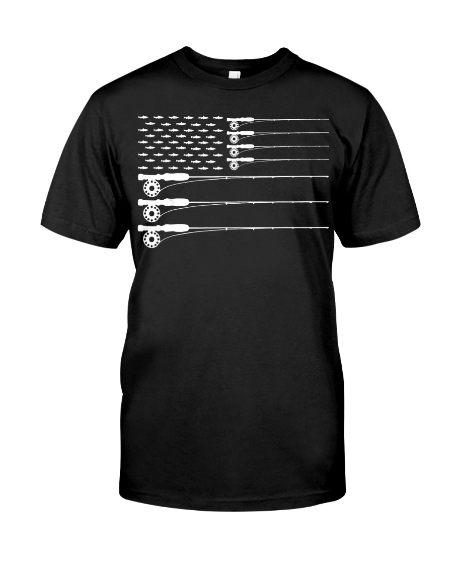 American Flag Fly Fishing Rod Trout Patriot  Classic T-Shirt