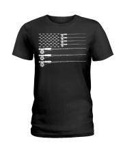 American Flag Fly Fishing Rod Trout Patriot  Ladies T-Shirt thumbnail