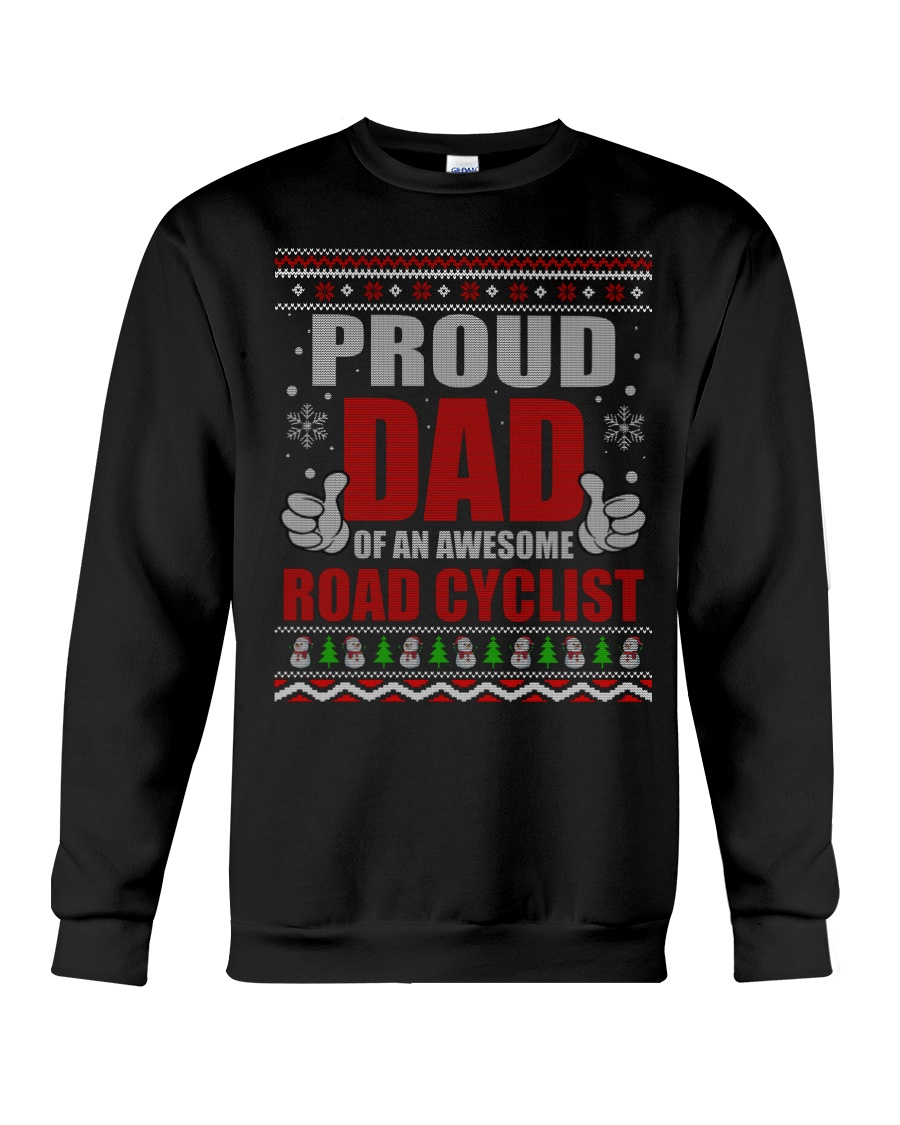 Proud Dad Of An Awesome Road Cyclist Crewneck Sweatshirt