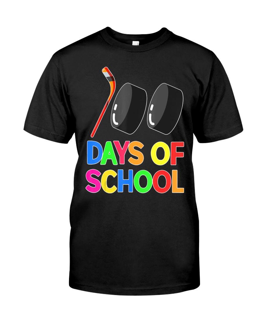 100 Days of School Hockey Puck Stick Funny T Classic T-Shirt