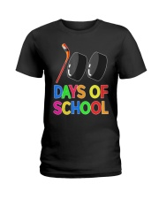 100 Days of School Hockey Puck Stick Funny T Ladies T-Shirt thumbnail