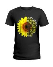 I Was Born To Be A Teacher Shirt Sunflower Gifts Ladies T-Shirt thumbnail