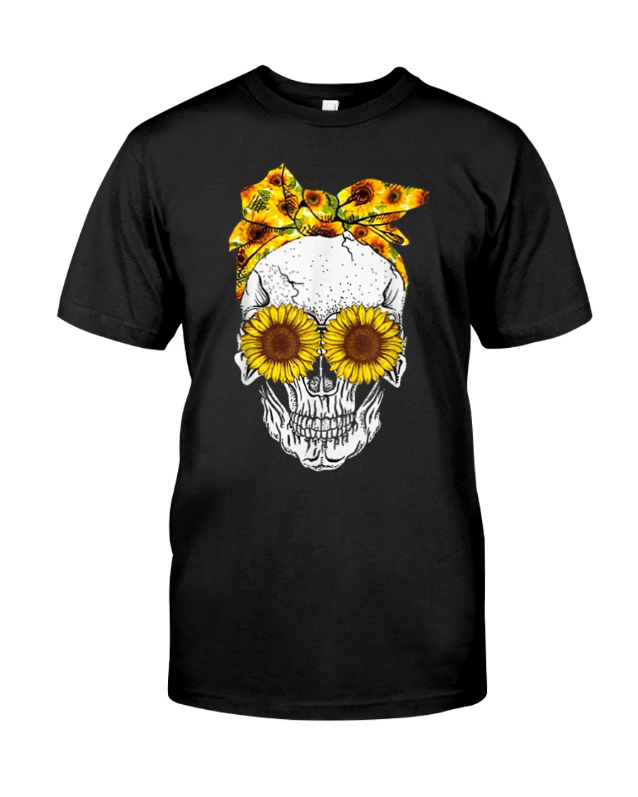 sunflower skull sunflower bow skulls love Classic T-Shirt