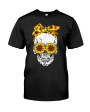 sunflower skull sunflower bow skulls love Classic T-Shirt front