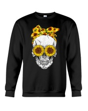 sunflower skull sunflower bow skulls love Crewneck Sweatshirt thumbnail