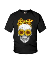sunflower skull sunflower bow skulls love Youth T-Shirt thumbnail