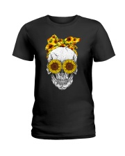 sunflower skull sunflower bow skulls love Ladies T-Shirt thumbnail