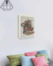 Cat on Book Stack 11x14 Gallery Wrapped Canvas Prints aos-canvas-pgw-11x14-lifestyle-front-02