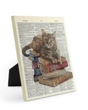 Cat on Book Stack Easel-Back Gallery Wrapped Canvas tile