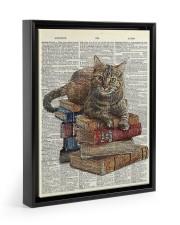 Cat on Book Stack Floating Framed Canvas Prints Black tile