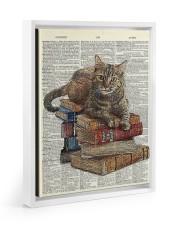 Cat on Book Stack Floating Framed Canvas Prints White tile