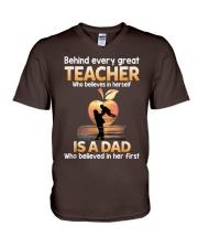 Teacher Behind Dad V-Neck T-Shirt tile