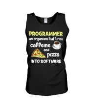Turns caffeine and pizza into software Unisex Tank thumbnail