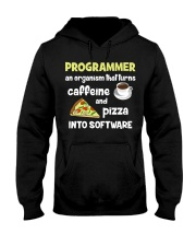 Turns caffeine and pizza into software Hooded Sweatshirt thumbnail