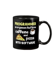 Turns caffeine and pizza into software Mug front