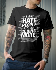 I just love coding more Classic T-Shirt lifestyle-mens-crewneck-front-6