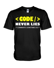 Code never lies V-Neck T-Shirt tile