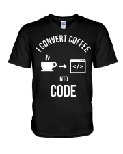 I convert coffee in to code V-Neck T-Shirt thumbnail