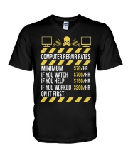 Computer Repair Rates V-Neck T-Shirt tile