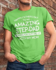 Happy Amazing Step-Dad Thanks For Putting My Mom Classic T-Shirt apparel-classic-tshirt-lifestyle-26