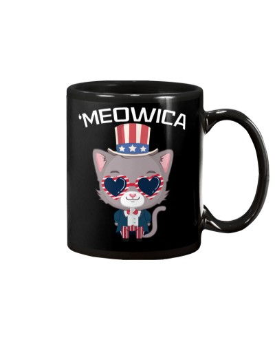 Meowica July 4th Funny Cat Lover USA Independence