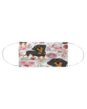 DACHSHUND WITH ROMANTIC FLOWERS Cloth face mask aos-face-mask-coverlet-lifestyle-front-01