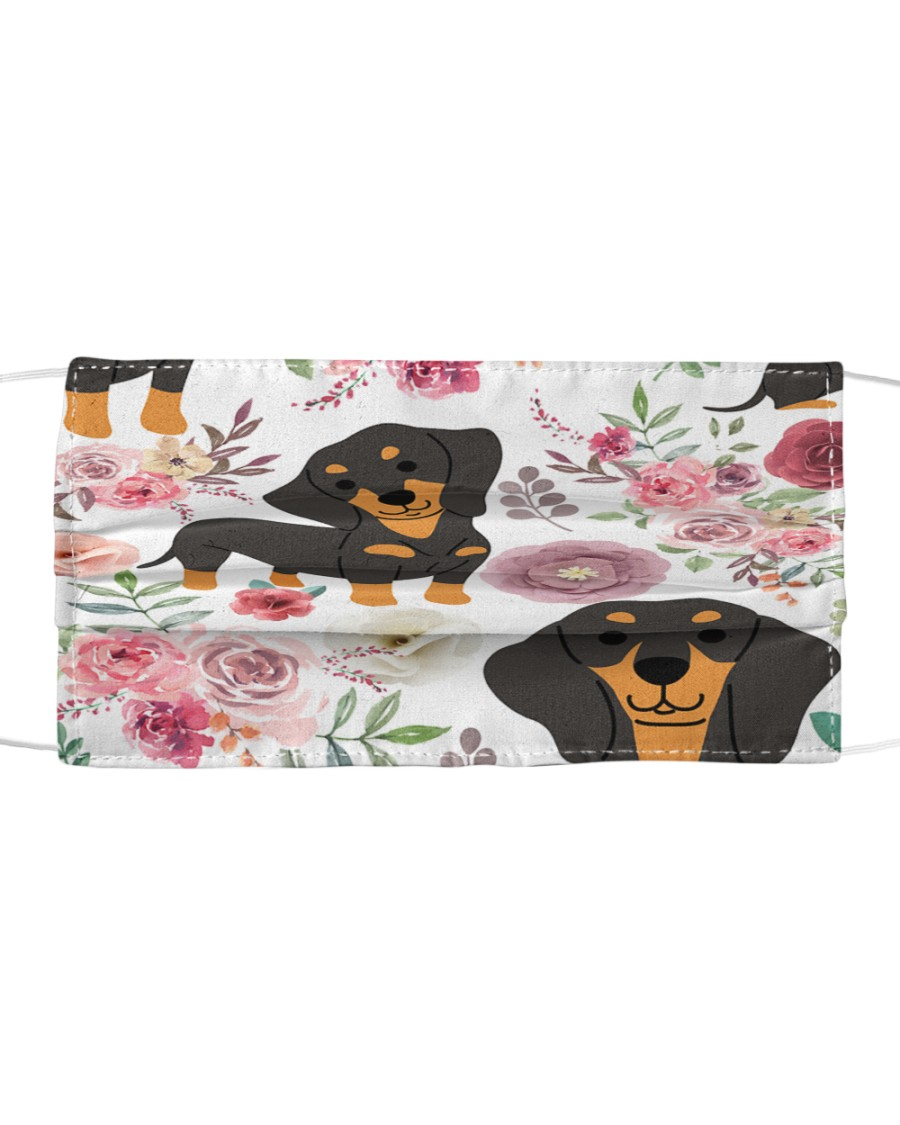 DACHSHUND WITH ROMANTIC FLOWERS Cloth face mask
