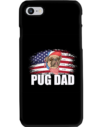 Best Pug Dad Ever Shirt American Flag 4th Of July