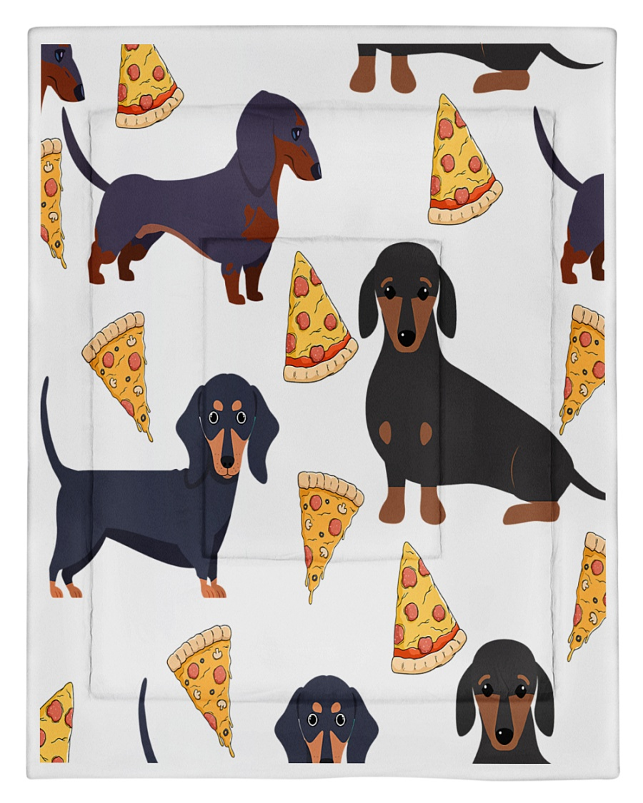 DACHSHUND WITH PIZZA Comforter - Twin