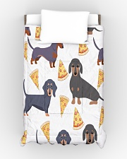 DACHSHUND WITH PIZZA Comforter - Twin XL aos-bed-comforters-twin-68x92-lifestyle-front-01