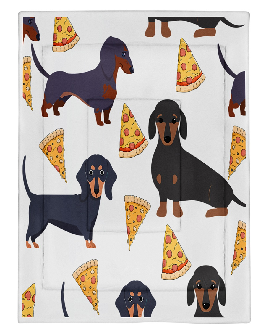 DACHSHUND WITH PIZZA Comforter - Twin XL