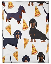 "DACHSHUND WITH PIZZA Small Fleece Blanket - 30"" x 40"" thumbnail"