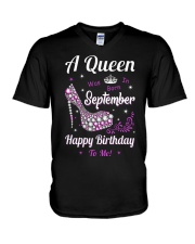 A Queen Was Born In September V-Neck T-Shirt thumbnail