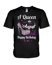 A Queen Was Born In August V-Neck T-Shirt thumbnail