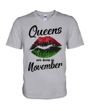 Queens Are Born In November  V-Neck T-Shirt thumbnail